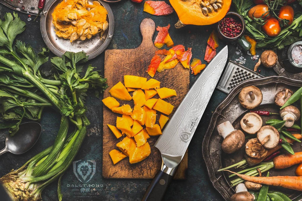 Dalstrong shogun series chef's knife surrounded by fruits and vegetables