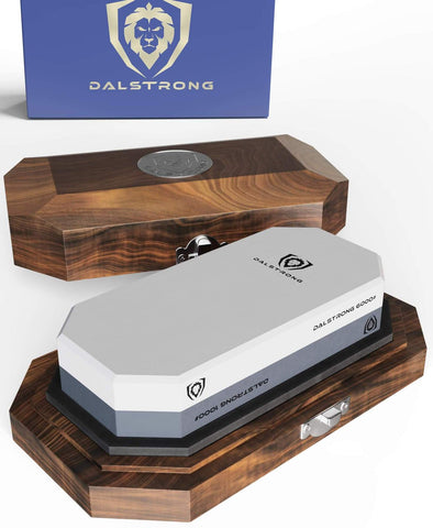 #1000 / #6000 Grit Combo with Oak Storage Box | Portable Whetstone Kit | Dalstrong ©