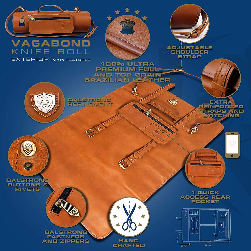Graphic of the features of the Vagabond Knife Roll - Full Grain Leather - California Brown