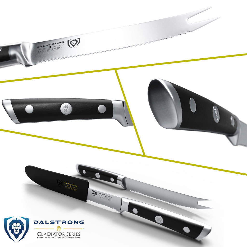 A serrated knife in different angles showcasing the blade and handle