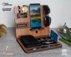 Personalized Docking Station Valentines Day gift for Him
