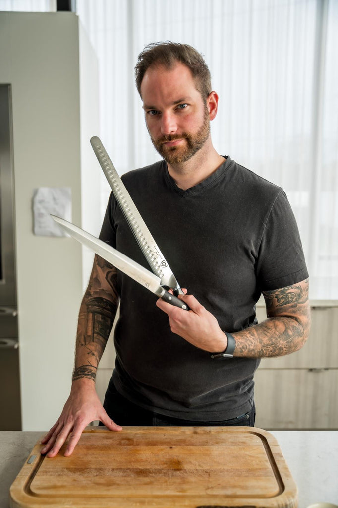 Romain Avril (@chefromainavril) poses with Dalstrong Knives