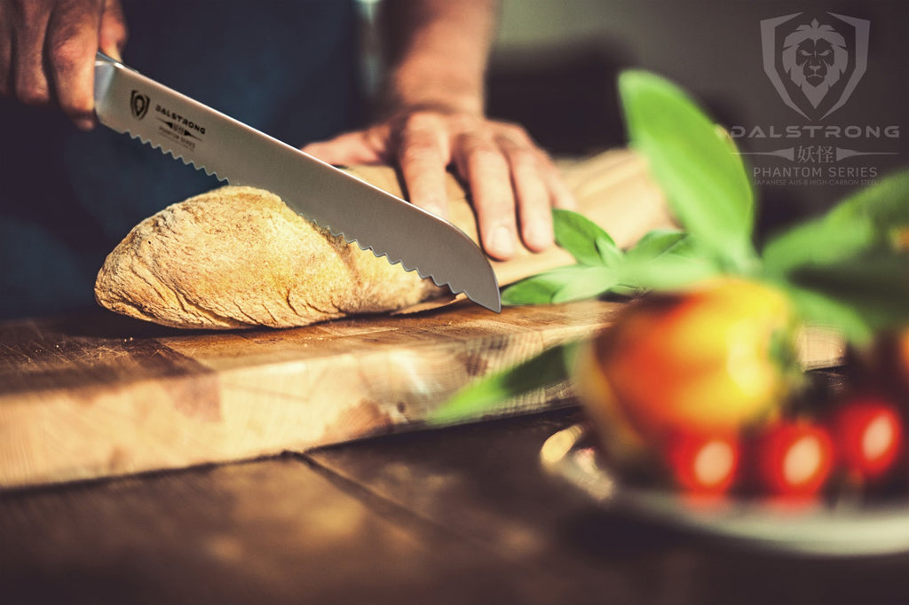 Phantom Series Bread Knife cutting through loaf of bread on cutting board