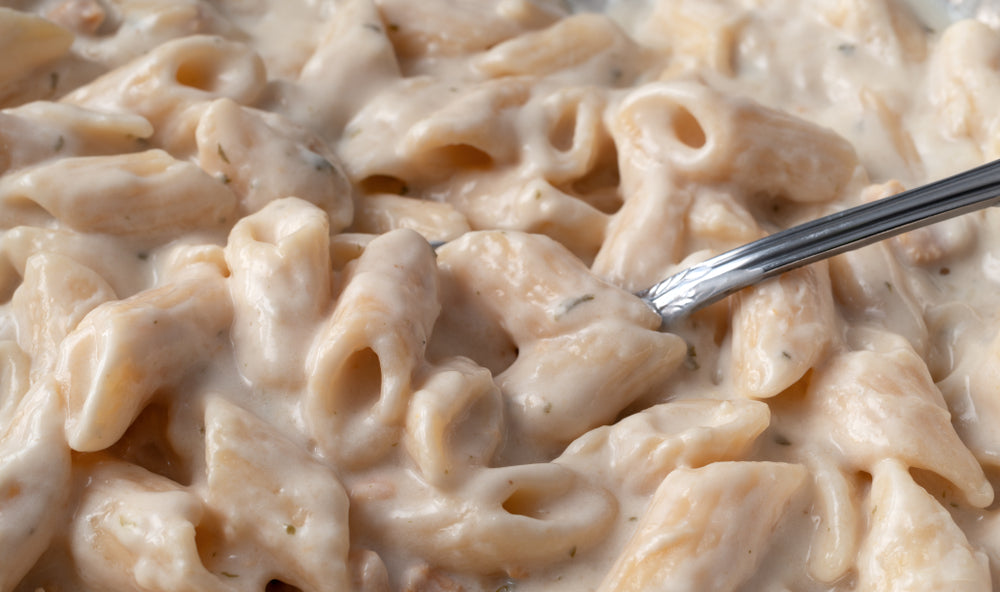 The handle of a silver fork sticks out form a large plate of penne pasta covered with thick creamy alfredo sauce