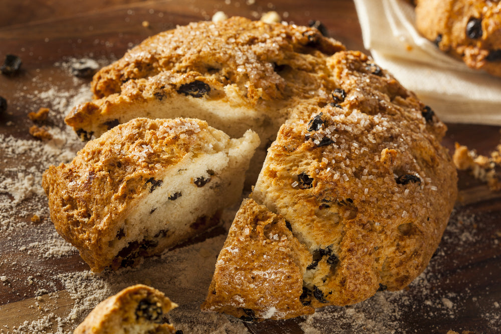 Traditional Irish Soda Bread on a wooden table