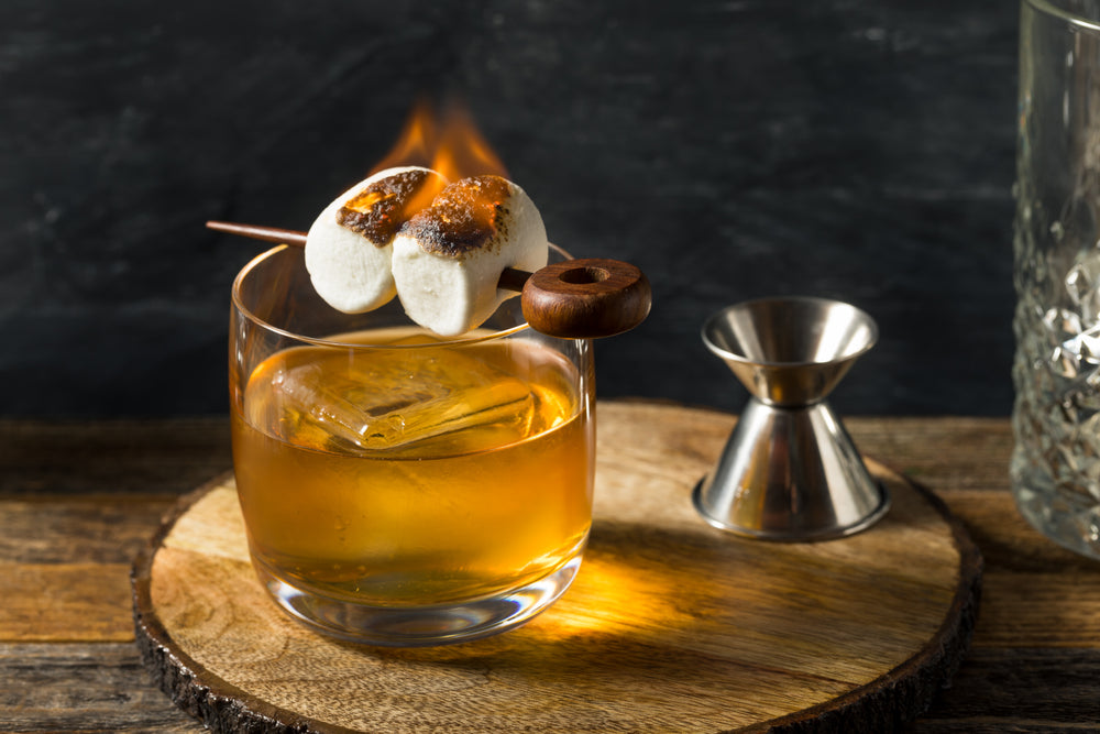 Homemade Smokey Marshmallow Campfire Old Fashioned with Bourbon