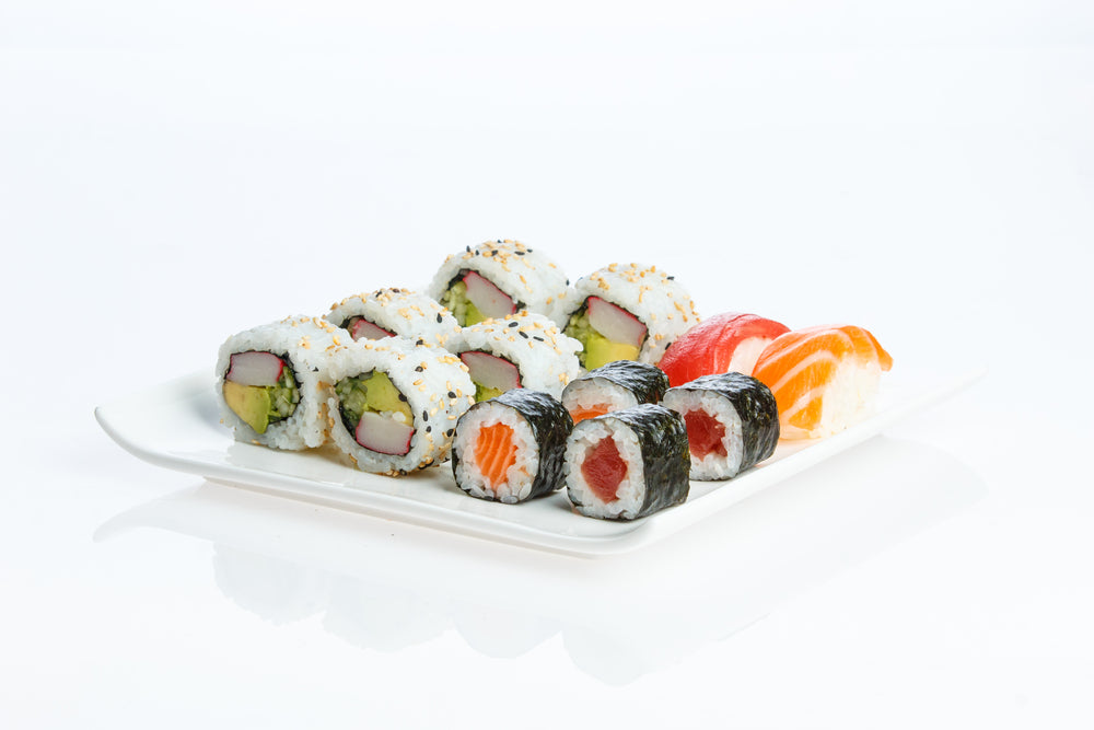 Plate of different types of sushi