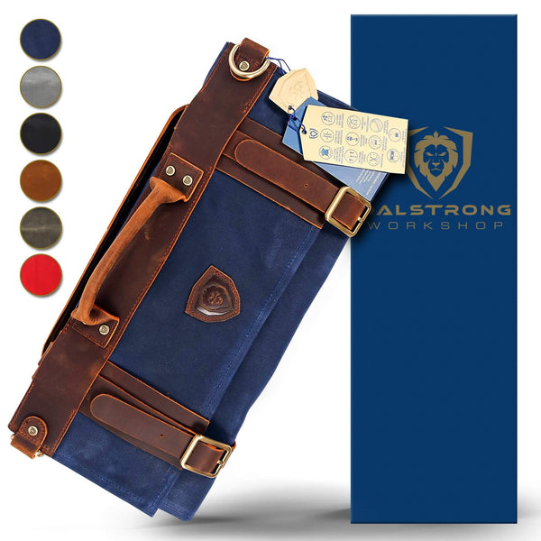 Nomad Knife Roll - 12oz Heavy Duty Canvas & Leather - Dalstrong Blue