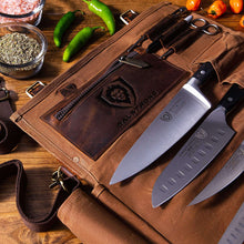Nomad Knife Roll - 12oz Heavy Duty Canvas & Leather - Desert Drifter (Brown)