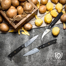 Shogun Series 3-Piece Paring Knife Set - Straight Edged, Serrated & Bird's Beak Paring Knives