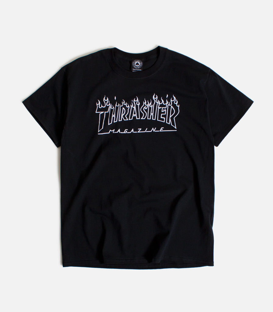 Thrasher Flame Logo Outline T-Shirt