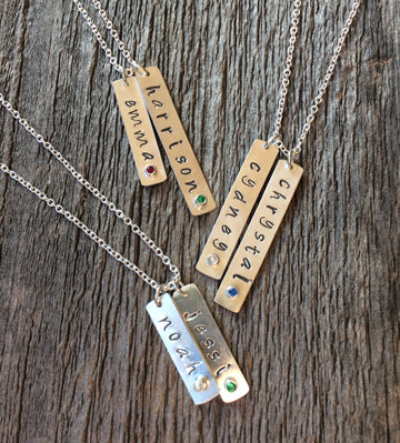 Rectangle Hand-Stamped Name Charm Necklace