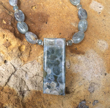 Drusy, Kyanite and Apatite necklace