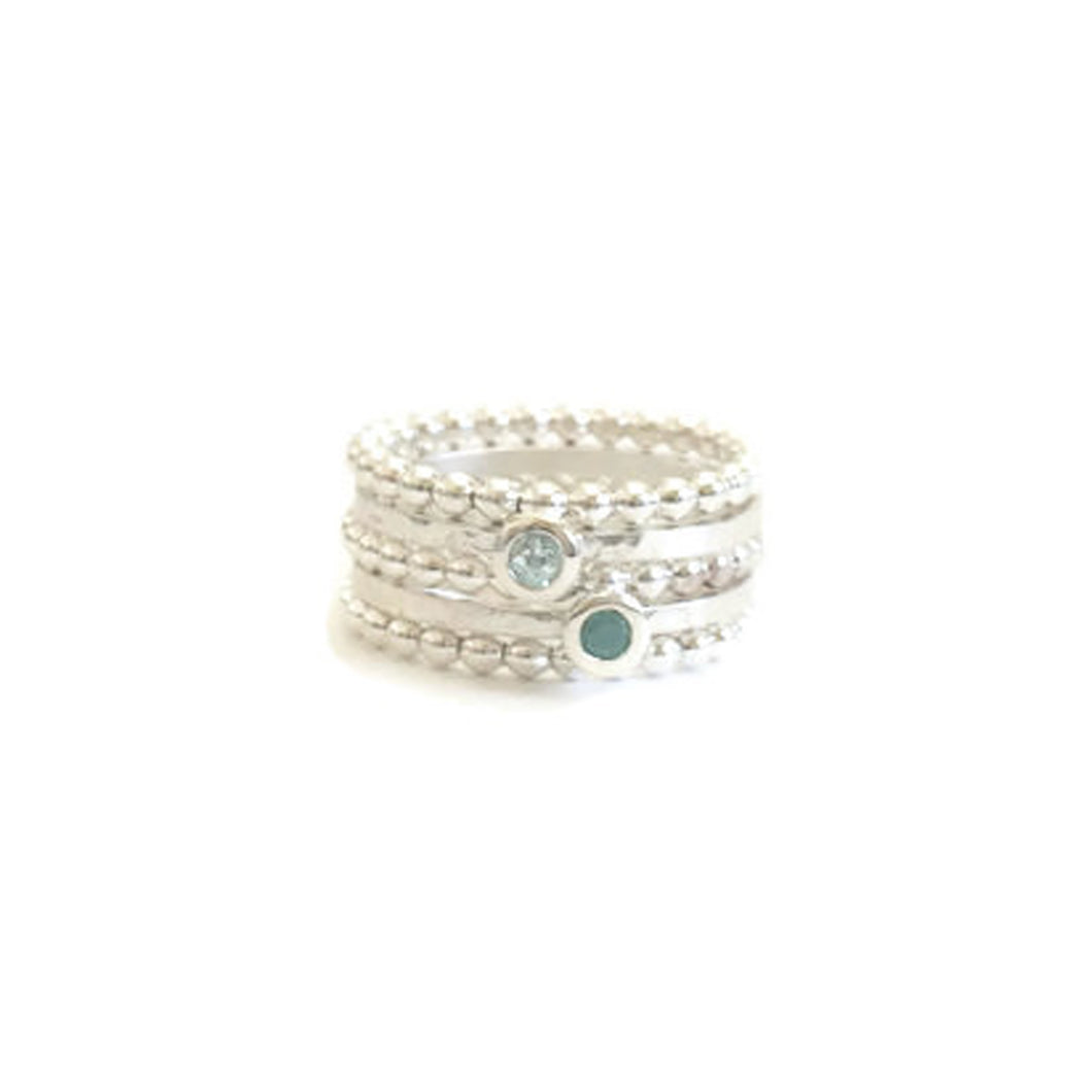 Gemstone and beaded stackable rings