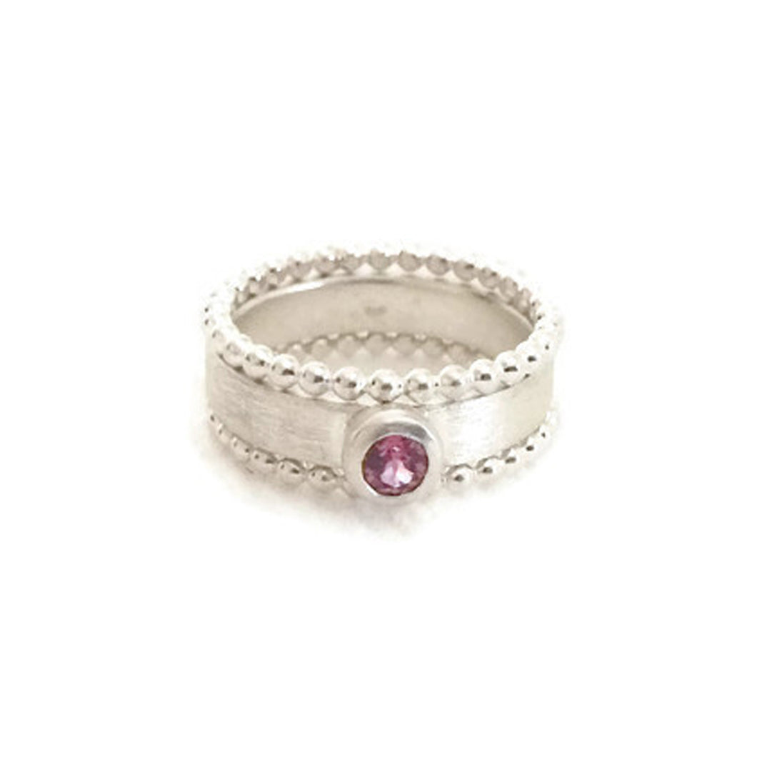 3 ring stack with gemstone in silver