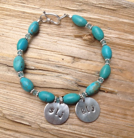 Turquoise Initial Charm Bracelet