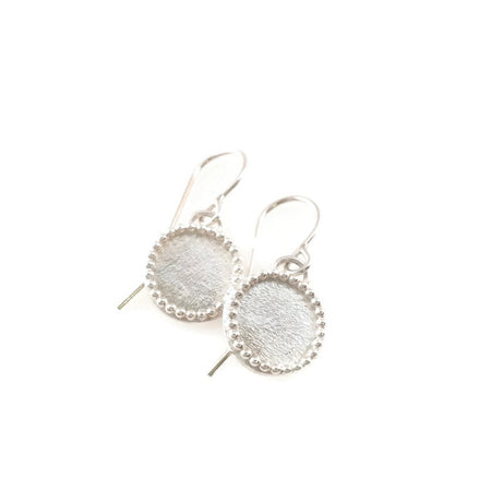 Brushed Disc Earrings with beaded edge