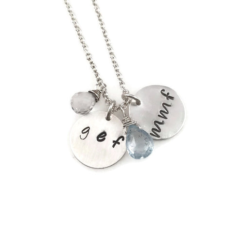 Round Hand-Stamped Initial Necklace