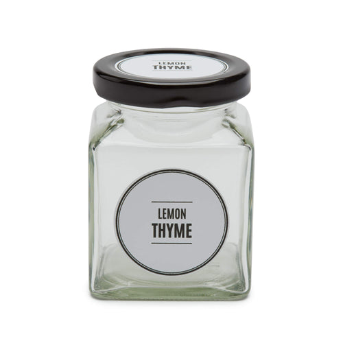 Square Glass Spice Jars, 195ml - Black or White