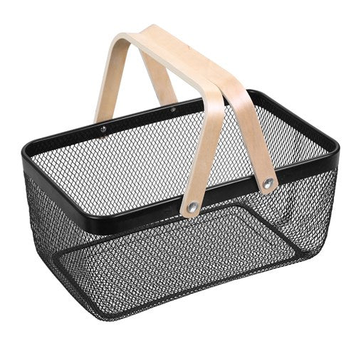 Mesh Storage Basket With Wooden Handle - Black