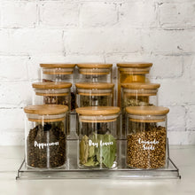 9 x 200ml Bamboo Spice Jars, Labels and Clear Shelf Bundle