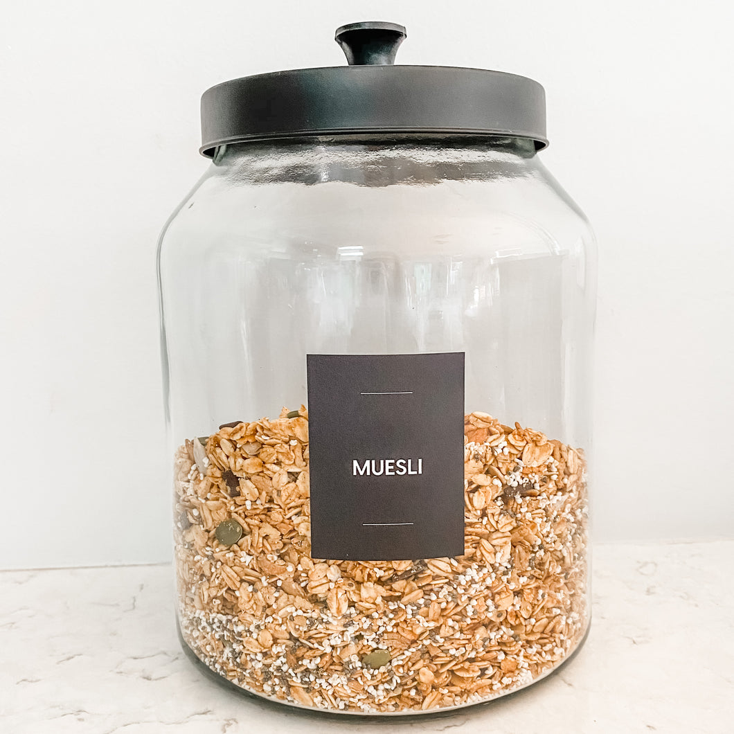 Cosmo Glass Jar with Black Lid - 3L