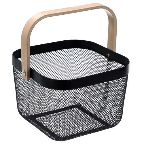 Square Mesh Storage Basket With Wooden Handle - Black