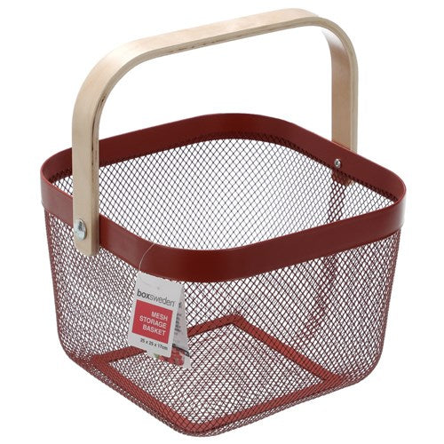 Square Mesh Storage Basket With Wooden Handle - Red