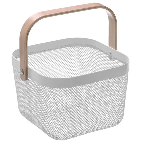 Square Mesh Storage Basket With Wooden Handle - White