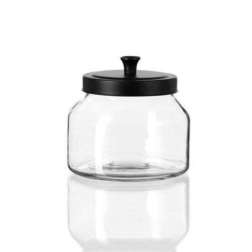 Cosmo Glass Jar with Black Lid - 1.6L