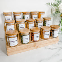 Bamboo Spice Jar Bundle - 15 x 75ml Jars, Bamboo Step, Spice Design 26 Square Label Pack