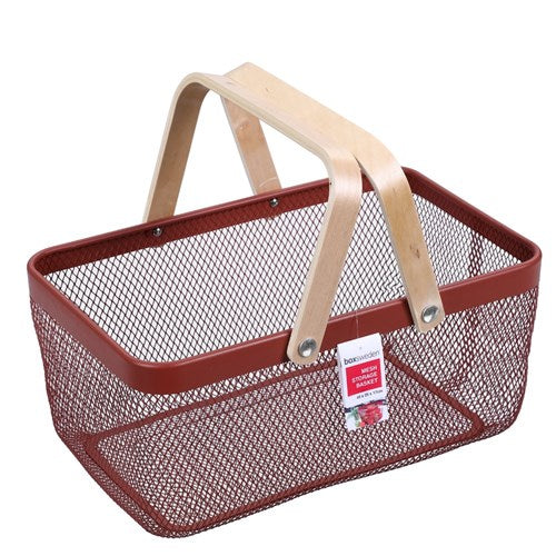 Mesh Storage Basket With Wooden Handle - Red