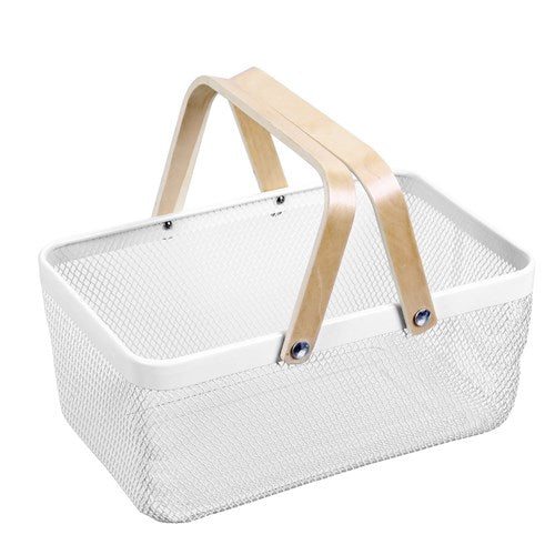 Mesh Storage Basket With Wooden Handle - Off White