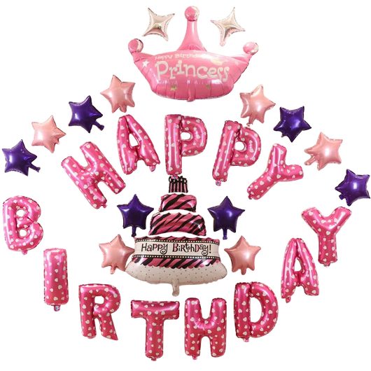 Terrific Happy Birthday Princess Crown Cake Balloon Set Superaprons Personalised Birthday Cards Paralily Jamesorg