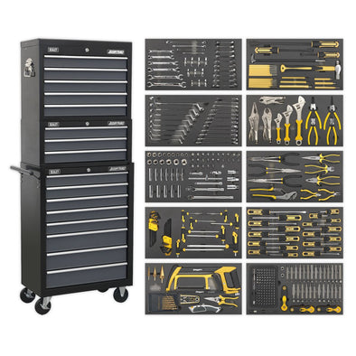 Sealey American Pro Tool Chest Combination 16 Drawer with Ball Bearing Slides - Black/Grey & 420pc Tool Kit