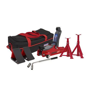 Sealey Trolley Jack 2tonne Low Entry Short Chassis - Red & Accessories Bag Combo
