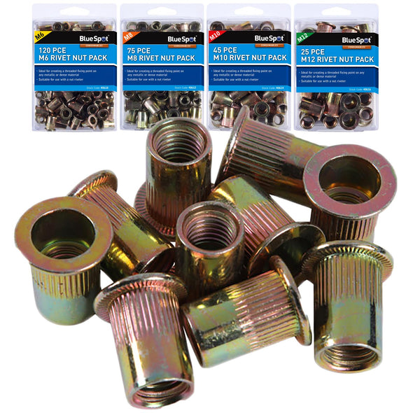 BlueSpot Rivet Nut Inserts Carbon Steel M6-M12 Individual Packs