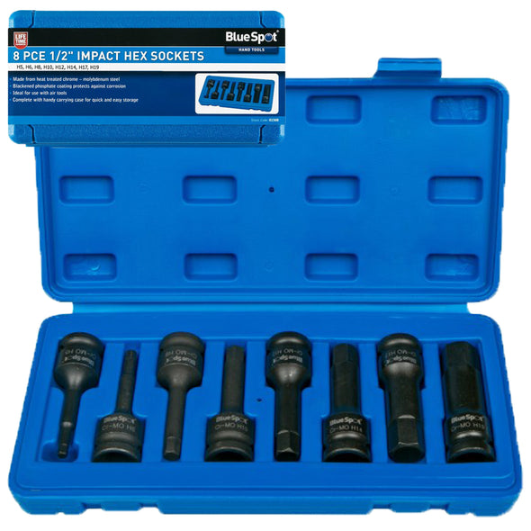 "BlueSpot 8 Piece 1/2"" Drive Impact Hex Socket Set H5-H19"