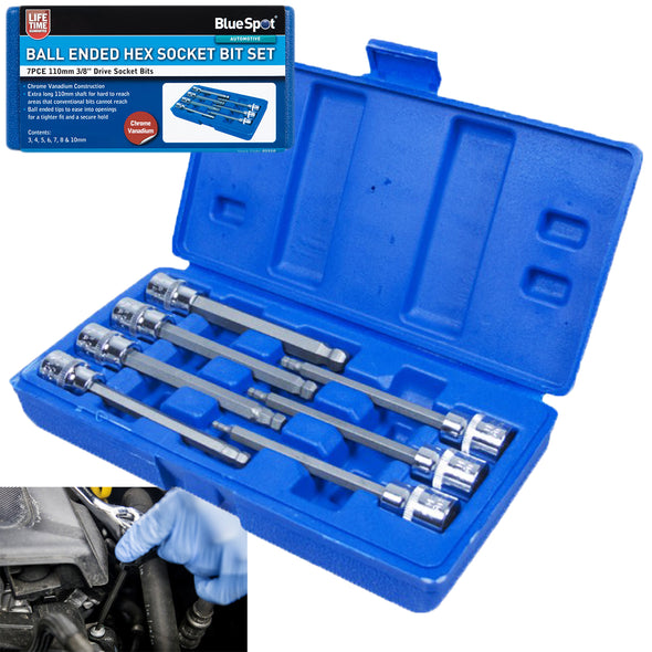 "BlueSpot 7 Piece 110mm 3/8"" Drive Extra Long Ball End Hex Socket Bit Set 3-10mm"