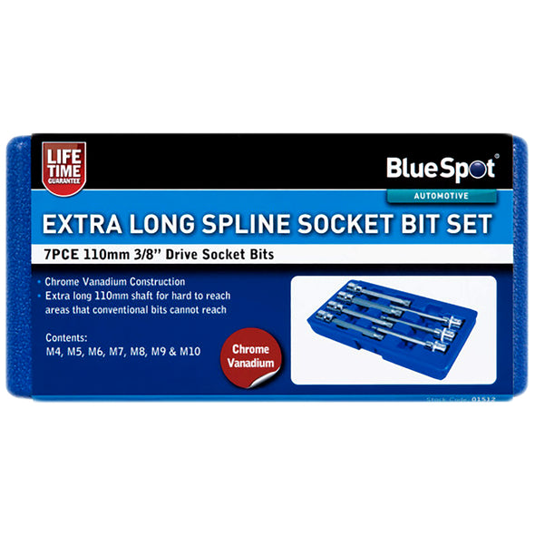 "BlueSpot Spline Socket Bit Set 7 Piece 110mm 3/8"" Drive Extra Long M4-M10"