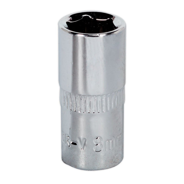 "Sealey Premier WallDrive® Socket 8mm 1/4""Sq Drive Fully Polished"