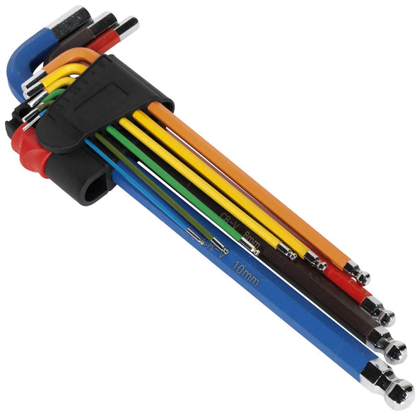 Sealey Premier 9 Piece Colour Coded Extra Long Ball End Hex Key Set 1.5-10mm Case
