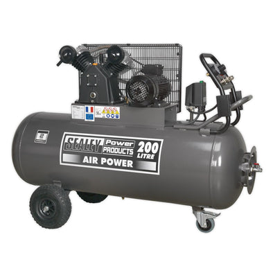Sealey Premier Compressor 200L Belt Drive 3hp with Front Control Panel 415V 3ph