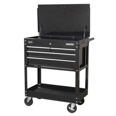 Sealey Superline Pro Heavy-Duty Mobile Tool & Parts Trolley with 4 Drawers & Lockable Top - Black