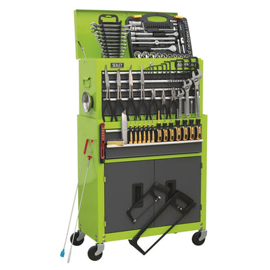 Sealey American Pro Topchest & Rollcab Combination 6 Drawer Ball Bearing Slides - Hi-Vis Green/Grey & 128pc Tool Kit