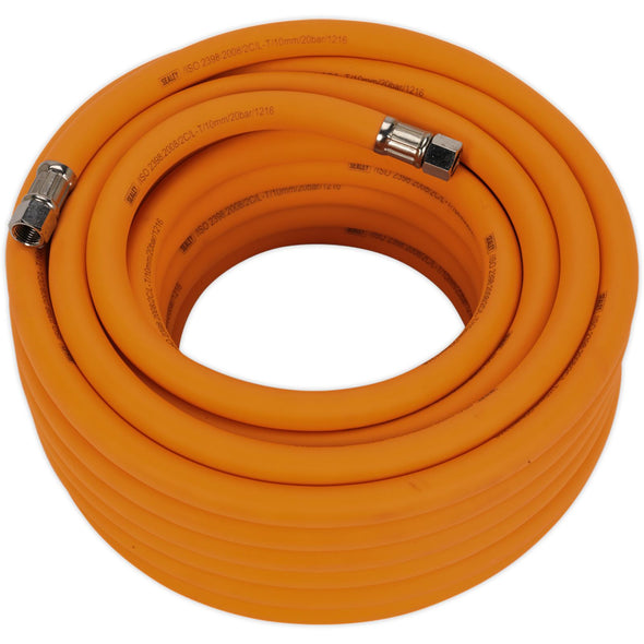 "Sealey 15m x Ø10mm Hybrid High Visibility Air Hose with 1/4"" BSP Unions"
