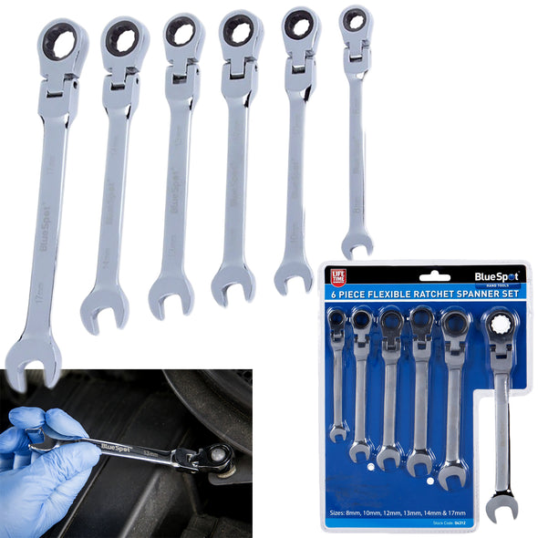 BlueSpot Ratchet Spanner Set Flexible Head Combination 6 Piece 8-17mm