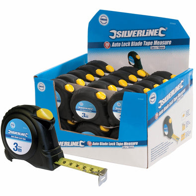 30 x Silverline 3m Tape Measure Automatic Blade Lock Metric Imperial Display Box