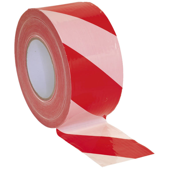 Sealey 80mm x 100m Non Adhesive Hazard Barrier Tape Red & White