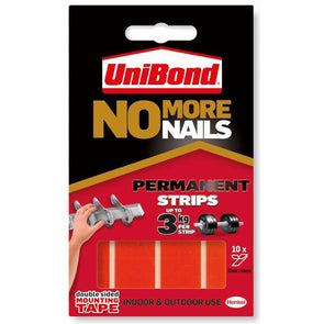 Unibond 10 Pack 20mm x 40mm No More Nails Double Sided Permanent Strips